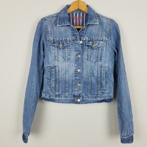 AEO Cropped Jean Jacket 100% Cotton Medium A0505
